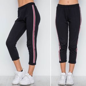 Pants - Black contrast trim high waist sweat pants